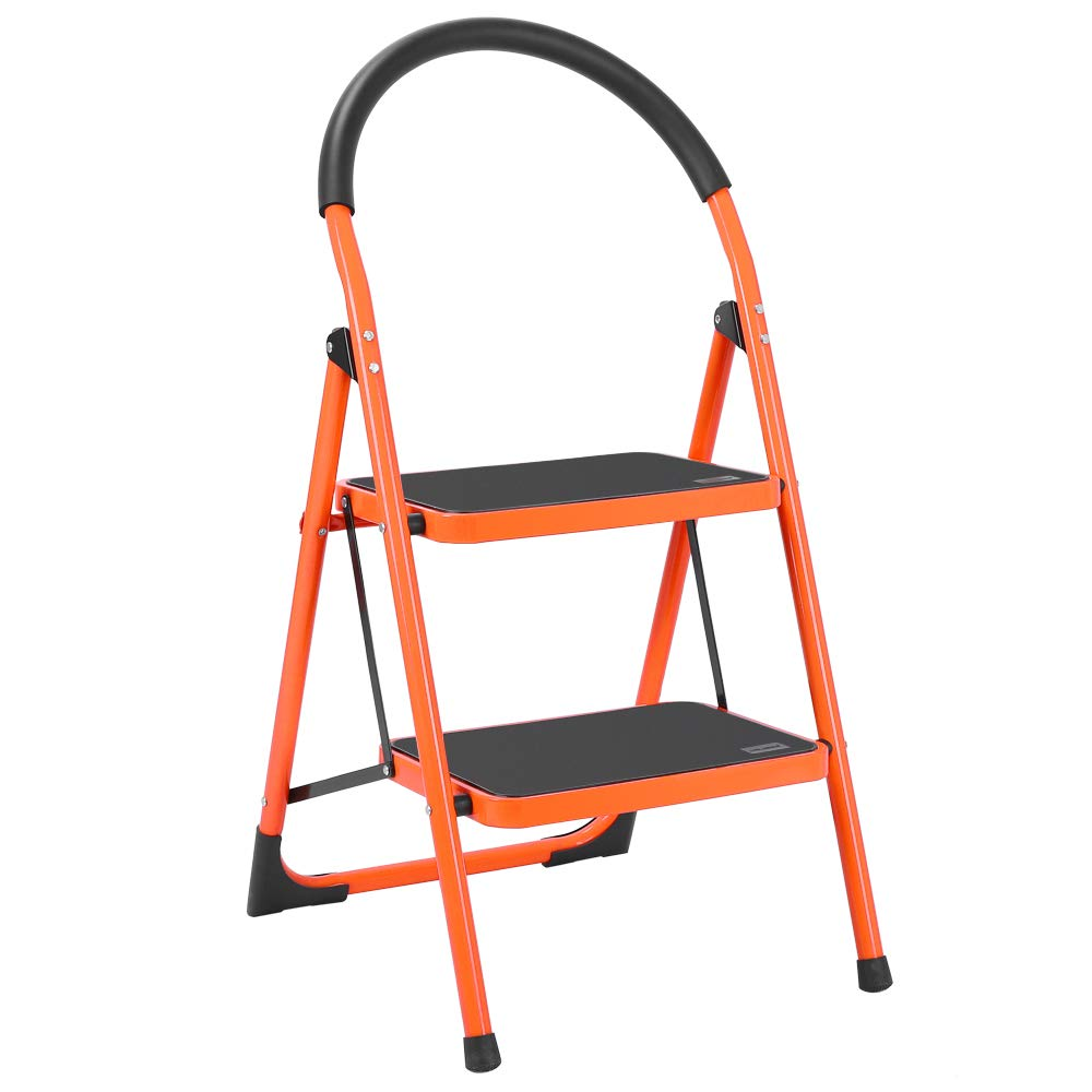 Luisladders 2 Step Ladder Anti-Slip Folding Stool Sturdy Steel Ladder 330lbs EN131 Lightweight with Handgrip Anti-Slip and Wide Pedal by LUISLADDERS