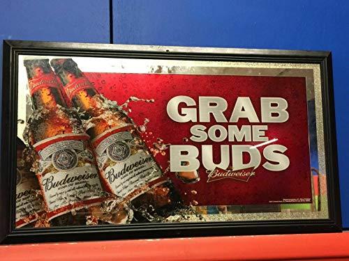 Budweiser Anheuser Busch Grab Some Bud Bar Pub Man Cave Mirror Beer Sign Display