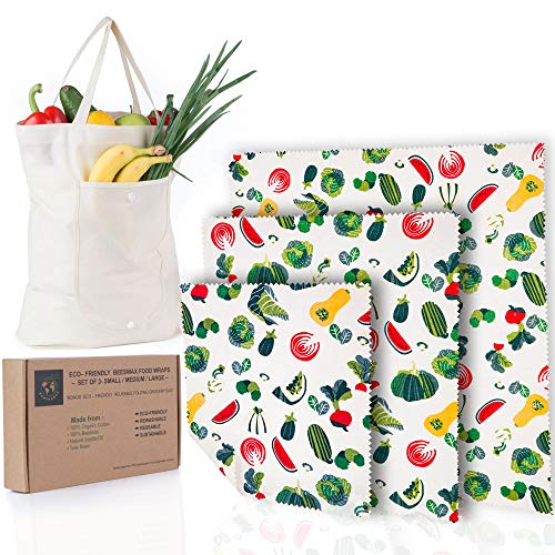 Beeswax Food Wrap 3 Pack - BONUS Foldable Grocery Bag |Biodegradable Food Storage Wraps (S,M,L) Ecofriendly, Sustainable Materials and Package