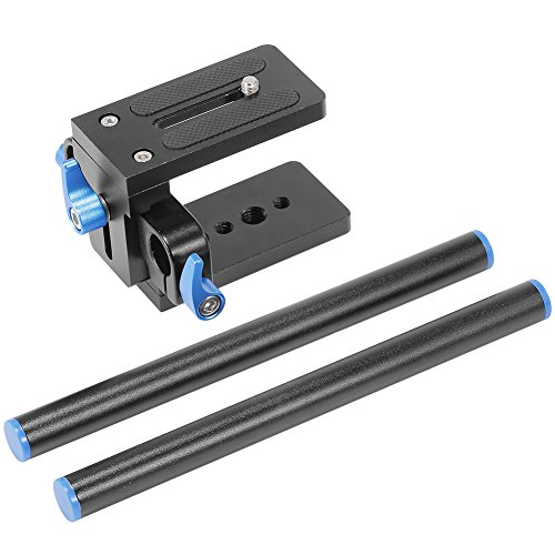 Neewer Aluminum Alloy DSLR Rail 15mm Rod Support Baseplate with 1/4