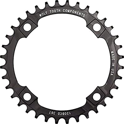 Wolf Tooth Components 36t 120bcd Drop-Stop Chainring for SRAM 2x10 Cranks, Black