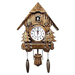 Vogvigo Cuckoo Clock Wall Clock 20 inch Alarm Clock Quality Swing Pocket Watch Modern Brief Living Room (Gold)