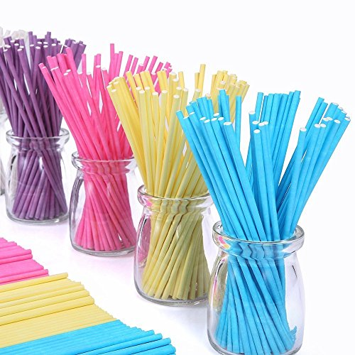 Colored Lollipop Sticks 100 count 6 inch (Blue, White, Purple, Yellow, Rose-red) (100) (Sticks Colored)