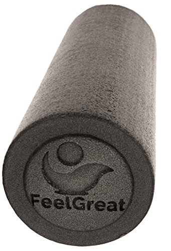 Foam Roller High Density Firm Core by FeelGreat Massage Exercise Yoga Pilates Medium Soft (Black, 18')