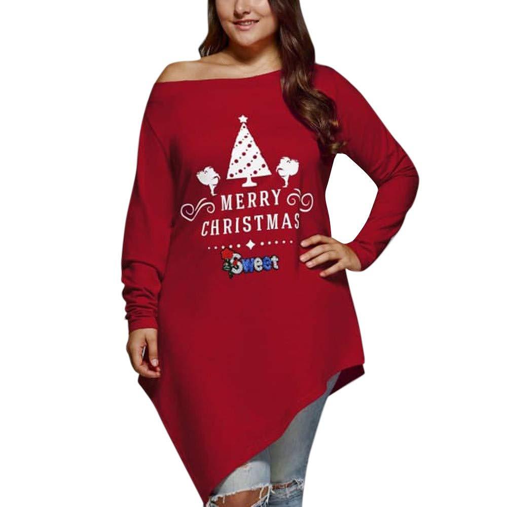 MCYs Frauen Casual Frohe Weihnachten Skew Neck Asymmetrische T-Shirt Sweatshirt Pullover Langarmshirt