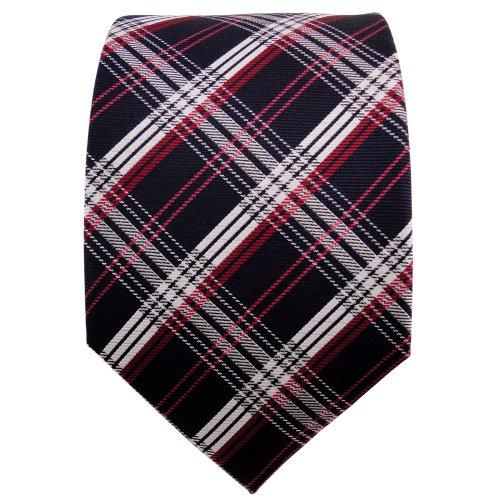 TigerTie cravate en soie rouge noir bleu-noir argent à carreaux - cravate en soie