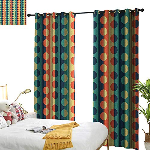 - longbuyer Geometric Circle Thermal Insulating Blackout Curtain Pop Art Style Vertical Striped Half Pattern Ring Forms Retro Poster Print W72 x L84,Suitable for Bedroom Living Room Study, etc.