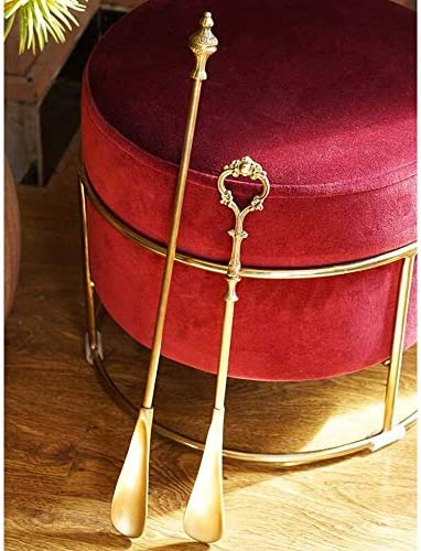 軽量 メタルシューホーンは、エクストラロング手作りのクラフトマンシップブラス靴ヘルパー男性女性子供ハンドル 耐用 (Color : Brass, Size : 52x4x3cm)