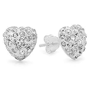 .925 Sterling Silver Crystal Heart Shape 6mm Stud Earrings