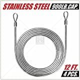 ColourTree 48 Feet (12ft x 4pc) PVC Coated Stainless Steel Metal Wire Cable Ropes Hardware Kits for Square and Rectangle Sun Shade Sail Canopy  - Commercial Standard Heavy Duty