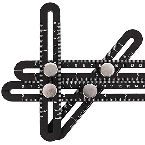Template tool, handyman with multi-angle measuring ruler, construction worker, craftsman, DIY tool, black (black) (Bolt Eye Short)