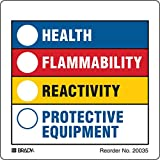 Hazardous Communication and Right-to-know Labels, Coated, Paper, 3.875'' x 3.875'', Black/Blue/Red/Yellow On White (Pack of 100)