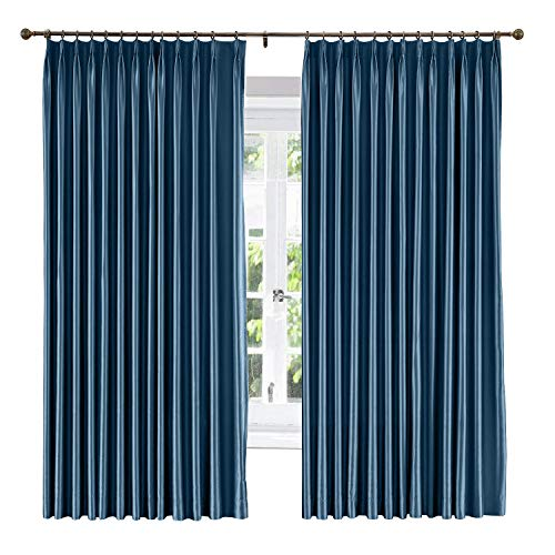 (ChadMade Soundproof Energy Saving Polyester Cotton Silk Solid Curtain Navy 84