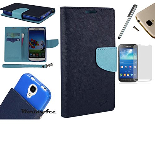 Photo - For Microsoft Lumia 550 Phone Case PU Leather Flip Cover Folio Book Style Pouch Card Slot Wallet + [WORLD ACC®] LCD Screen Protector+ Stylus (Navy Blue/Light Blue)