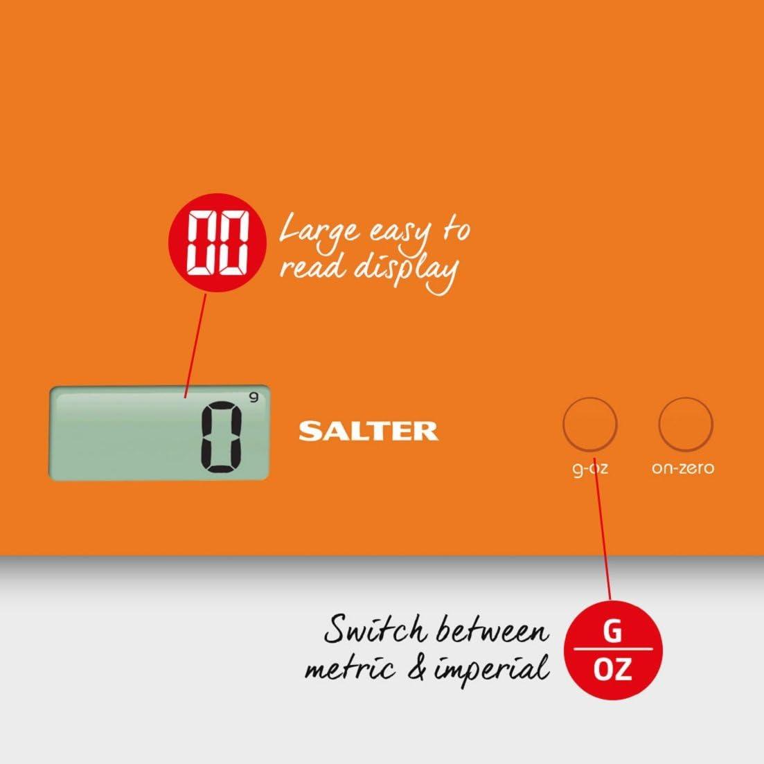 Funzione Aggiungi e Pesa per Pesare Pi/ù Ingredienti nello Stesso Recipiente Nero Salter Bilancia da Cucina Salvaspazio Capacit/à 3 kg