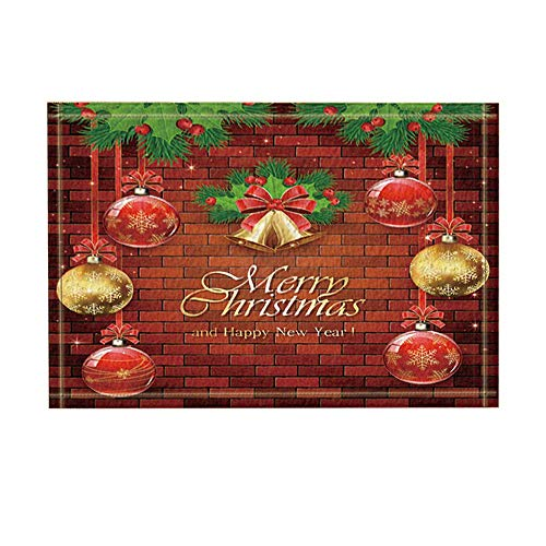 CdHBH Holiday Decor Christmas Balls with red Bow Holly Berry and Fir Tree Branches on Brick Wall Bath Rugs Non-Slip Doormat Floor Entryways Indoor Front Door Mat Kids Bath Mat 15.7x23.6in ()
