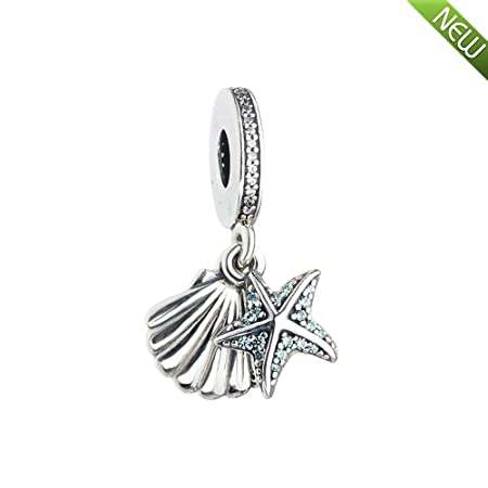 ff11caad1 PANDOCCI 2017 New Summer Blue Tropical Starfish and Seashell Pendant  Authentic 925 Sterling Silver Bead Fit for Pandora Bracelets Fashion Jewelry:  ...