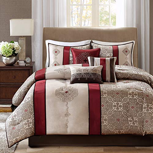 Madison Park Donovan King Size Bed Comforter Set Bed In A Bag – Taupe, Burgundy , Jacquard Pattern – 7 Pieces Bedding…
