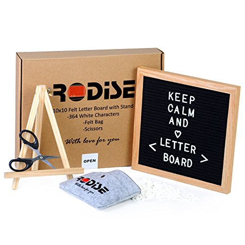 Black Felt Letter Board With Stand: 364 White - Interchangeable Characters - Letters & Emoji's | Durable Message Board With Tripod Wood Stand - Zippered Felt Bag With Logo & Scissors by Rodise