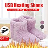 Electric Heated Shoes Fluffy Fleece Boots Men Women Winter Plush Electric Interface Hiding Washable USB Charger Boot Winter Warm Thermal Shoes (Women:5.5-8 M US, Pink)