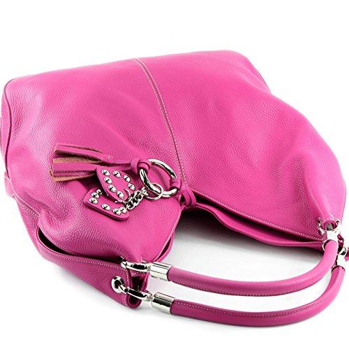 al cuero hombro de mujer Italy Pink para Bolso Made aqxfEf