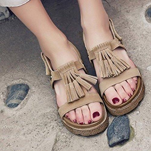 COOLCEPT Mujer Moda Flatform Sandalias Punta Abierta Velcro Zapatos With Borlas Albaricoque