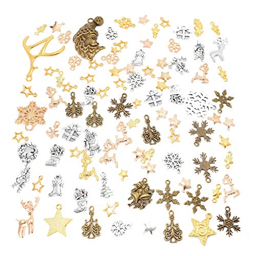 100g Christmas Charms Pendants for Necklace Bracelet Jewelry Making Mixed Color And Design (About 80pcs)