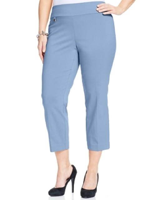 7a24eba52e3 Alfani Plus Size Pull-on Capri Pants in Free Blue (24W) at Amazon ...