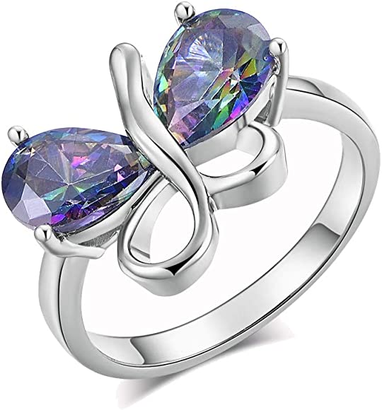 YAZILIND Butterfly Shape Open Ring S925 Silver Plated Cubic Zirconia Valentine Anniversary Adjustable Jewelry Women Girls Gift