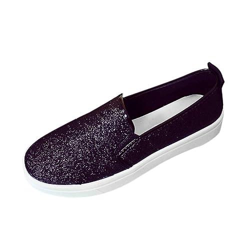 QinMM Mujer Mocasines Planos de Lentejuelas Plataforma Zapatos mocasín cómodo Mujers Mocasin Fiesta Negras Plateados Zapatillas: Amazon.es: Zapatos y ...