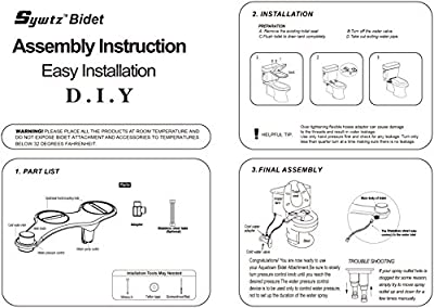 Sywtz Non-Electric Bidet for Toilet with Self-Cleaning Dual Nozzle White Easy Installation