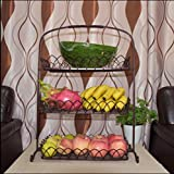 W&P European-style three-tier fruit basket iron fashion living room kitchen shelving storage rack snack cake stand fruit bowl , bronze