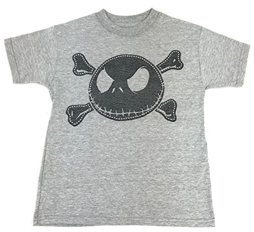 DisneyParks Jack Skellington Distressed Leather Style Face Shirt Youth Grey (Pirate Jack Skellington)