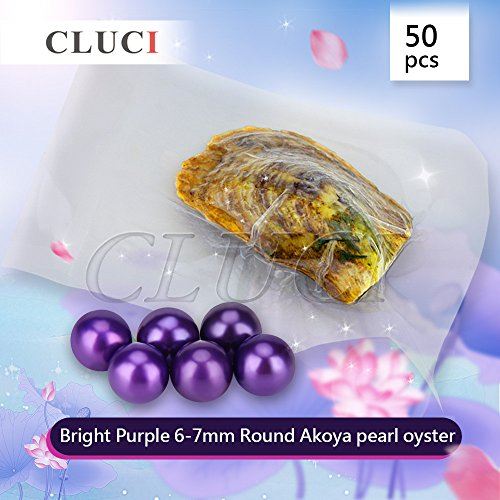 New Arrival Bright Purple Vacuum Package Akoya Round Cultured Pearl in Oyster 6-7mm 50pcs by NY Jewelry (Image #1)