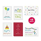 48-Pack Bulk Happy Birthday Cards Box Set – Assorted Birthday Cards in 6 Simple, Fun Designs For Women, Men and Kids. Left Blank Inside For Your Own Personalized B'day Greetings. Includes 48 Envelopes