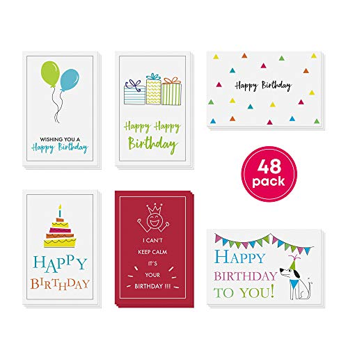 48-Pack Bulk Happy Birthday Cards Box Set - Assorted Birthday Cards in 6 Simple, Fun Designs For Women, Men and Kids. Left Blank Inside For Your Own Personalized B'day Greetings. Includes 48 Envelopes