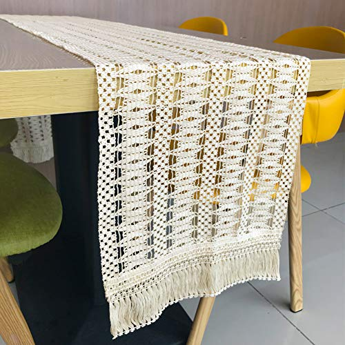 Hooqict Macrame Table Runner 14 x 84 inch Handmade Cotton Boho Table Runner with Tassels for Bohemian Rustic Wedding Baby Bridal Shower Dining Table Decorations