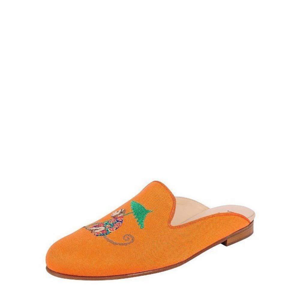 M 6.5 Jon Josef Monkey Orange Slide Linen Flat