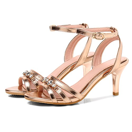 Noble Strass Or Cheville Femme Bout Vernis Petit Talon OALEEN Soirée Sandales Chaussures Bride Aiguille Ouvert OnXqU06Tw