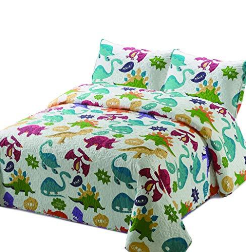 Better Home Style Multicolored White Dinosaur Dinosaurs Jurassic Park World Kids/Boys/Girls/Unisex/Toddler Coverlet Bedspread Quilt Set with Pillowcases # 2019174 (Queen/Full)
