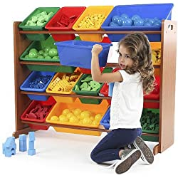 Tot Tutors Focus Super Sized Toy Storage Organizer w/ 16 Multicolor Bins