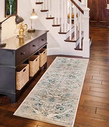 - Persian-Rugs 4620 Distressed Cream 2 x 7 Hallway Runner Area Rug Carpet