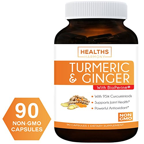 Turmeric Curcumin with Ginger, 95% Cucurminiods & Bioperine (NON-GMO & Vegan) For Joint Pain Relief And Anti-Inflammatory. Better Absorption with Black Pepper Extract. 90 Capsules Supplement: No Pills