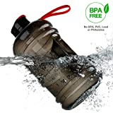 2.2 L Sport Drinking Water Bottle BPA Free Plastic Big Capacity Large Leakproof Water Jug Container with Carrying Loop Water Bottle for Outdoor Sports Fitness Gym Workout Hiking & Office (BLACK+RED)