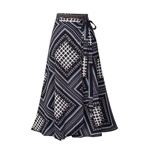 - Women Boho Print High Waist Side Wrap Split Ruffled Hem Maxi Long Skirt Black