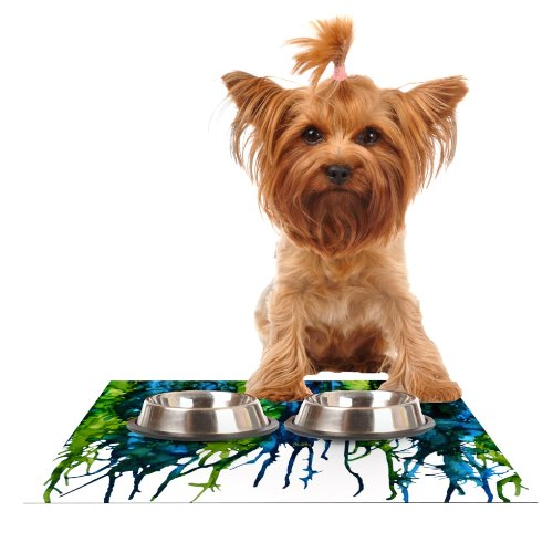 Kess InHouse Claire Day Drops  Green Feeding Mat for Pet Bowl, 18 by 13