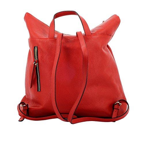 Mochila Para Mujer En Piel Verdadera Color Rojo - Peleteria Echa En Italia - Bolso Espalda