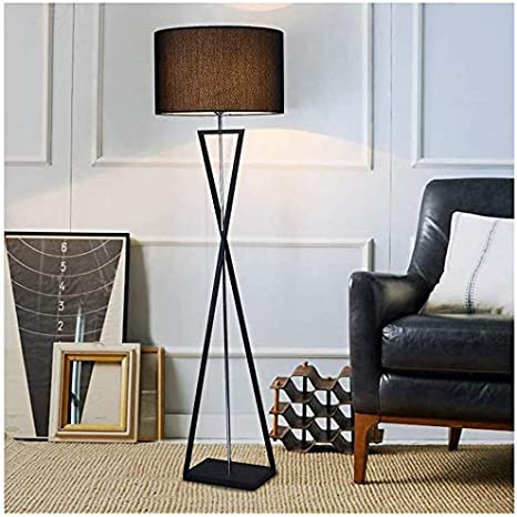 Living Room Floor Lamp Bedroom Standing Lamp Modern Wrought Iron Bedroom Bedside Reading Led Floor Lamp Color Black Rod Black Shade Amazon Com