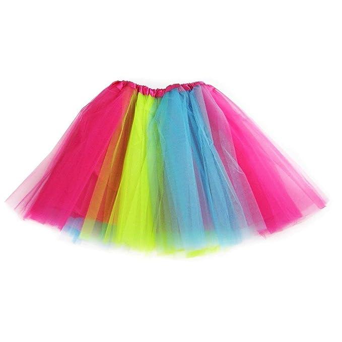 383aa8695 Ksnrang Tutu Falda de Mujer Falda de Tul 50's Short Ballet 3 Capas  Accesorios de Vestimenta de Baile Niñas para Vestirse Disfraces Danza