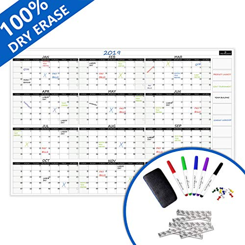Dry Erase Wall Calendar by JTSCProducts -Jumbo 38x58 in Monthly Planner for Home, School and Office - Reusable Laminated Nano Premium PET Film -Bonus 6 Markers, Dry Eraser, Thumb pins and 3M Tape